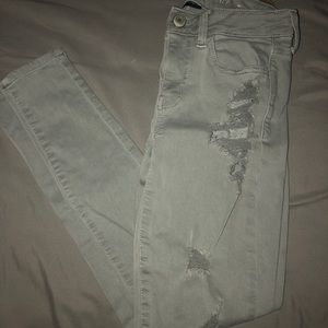 American Eagle Grey Ripped Jeans Size 2